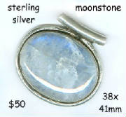 sterling silver large pendant moonstone