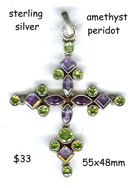sterling silver cross, faceted amethyst &peridot