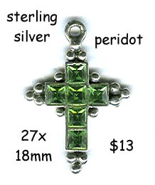 sterling silver cross, faceted peridot