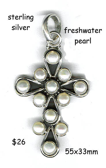 sterling silver cross, freshwater pearl