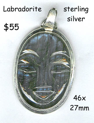 sterling silver pendant Labradorite carved face