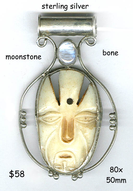 sterling pendant large bone face moonstone