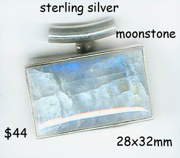 sterling pendant moonstone rectangle