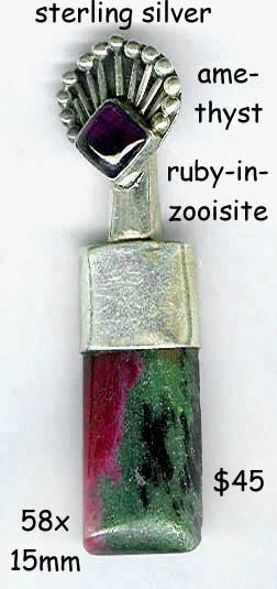 sterling pendant ruby in zooisite, amethyst