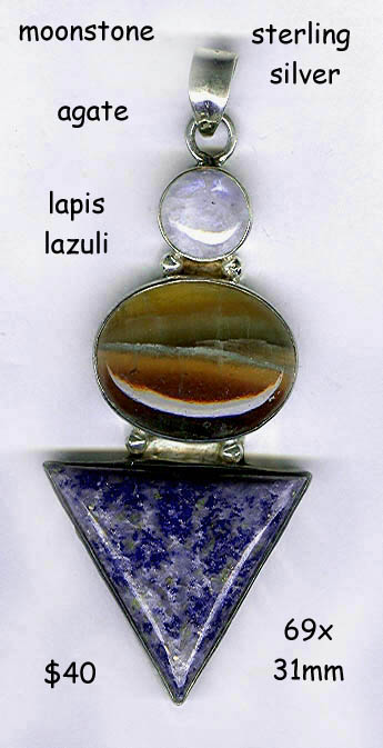 sterling pendant lapis triangle moonstone agate