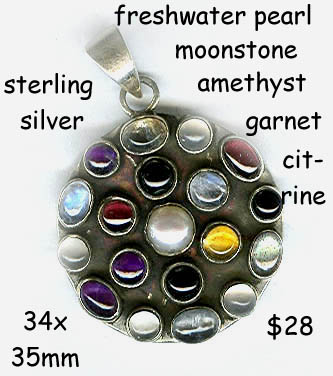 sterling pendant multi-gemstone round