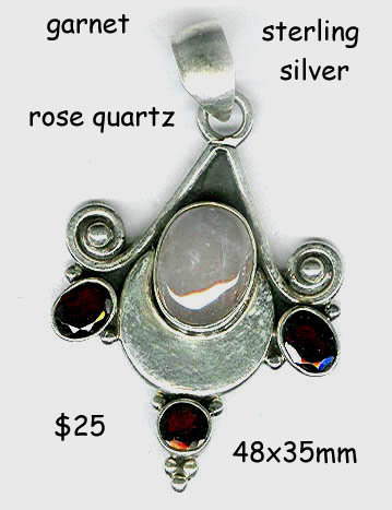 sterling pendant rose quartz garnet