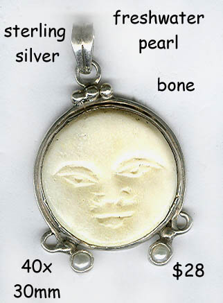 sterling pendant bone moon face