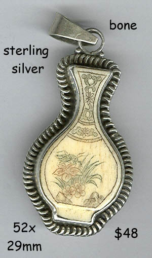 sterling pendant bone Chinese vase