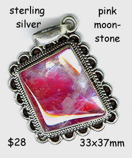sterling pendant pink moonstone slanted diamond