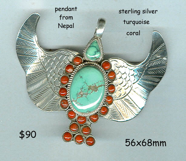 Nepal sterling pendant winged bird turquoise coral